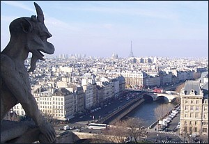 View of Paris with Gargoyle
