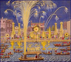 Royal Fireworks on the Thames, May 1749