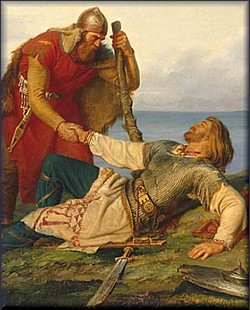 Hjalmar's Parting from Orvar Odd, by Marten Winge, 1866
