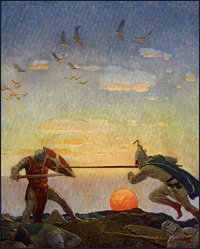 Arthur and Mordred by N.C. Wyeth