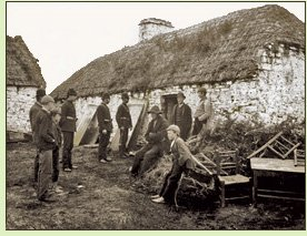 Irish tenant farmers evicted during the potato famine